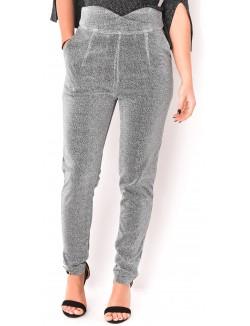Pantalon taille haute croisé scintillant