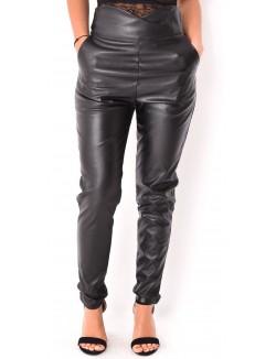 Pantalon taille haute croisé en cuir