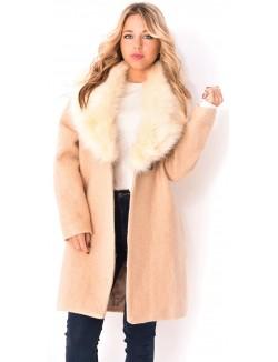 Manteau chiné à fourrure