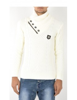 Pull homme en maille à col montant