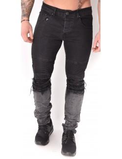 Jeans homme motard noir destroy