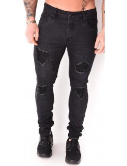 Jeans slim noir destroy