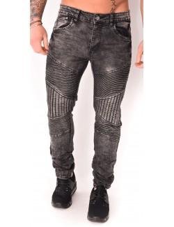 Jeans homme motard gris délavé
