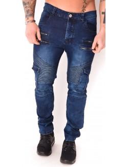 Jeans homme motard à poches
