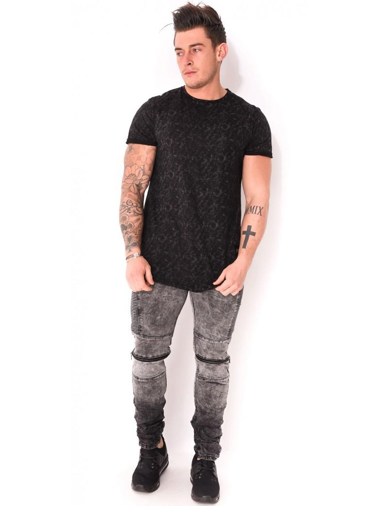 jeans motard gris zips jeans industry. Black Bedroom Furniture Sets. Home Design Ideas