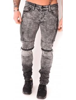 Jeans motard gris à zips