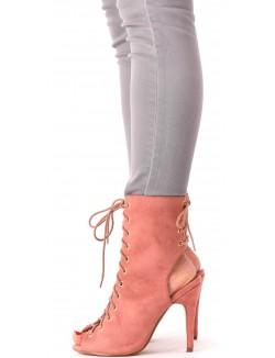 Sandales montantes en suédine lacées