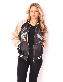 Bombers satiné reversible à broderies