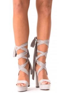 Sandales compensées en suédine à nouer