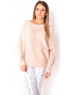 Pull cropped lacé