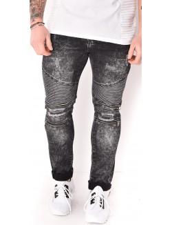 Jeans homme motard à zips