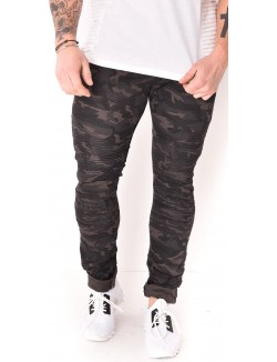 Jeans homme motard camo