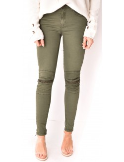 Pantalon slim zippé aux genoux