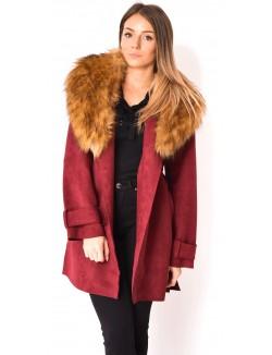 Manteau en suédine à fourrure
