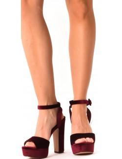Sandales compensées en velours
