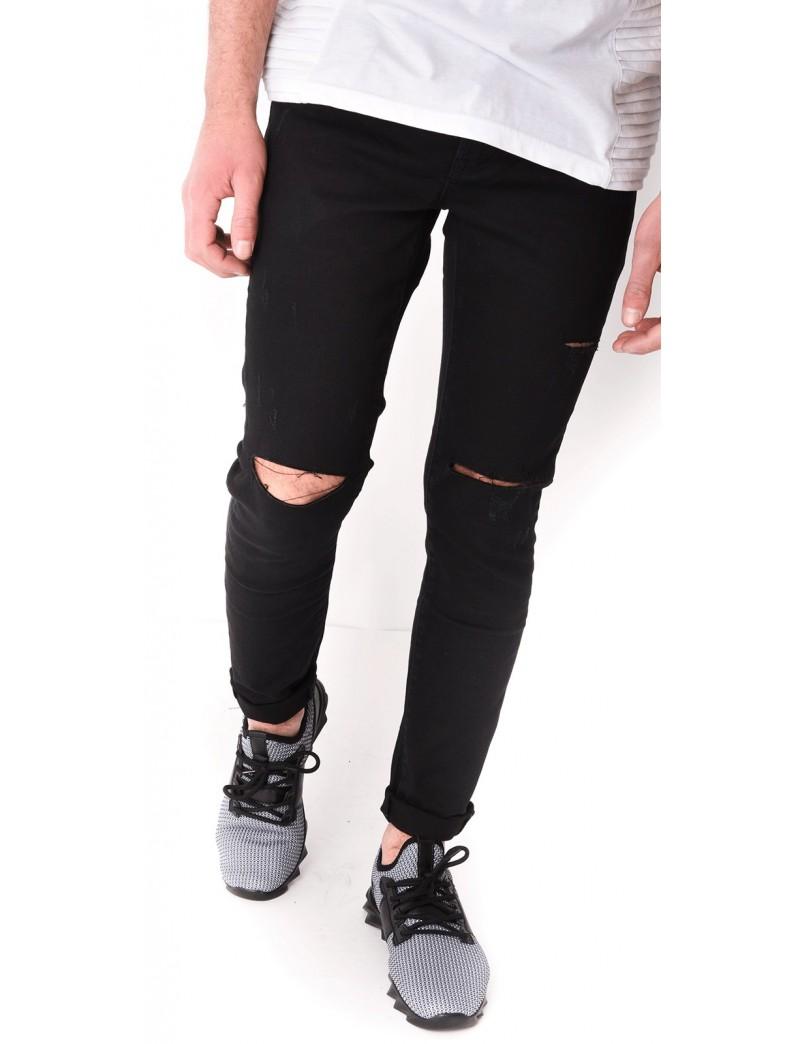 jeans homme noir destroy jeans industry. Black Bedroom Furniture Sets. Home Design Ideas