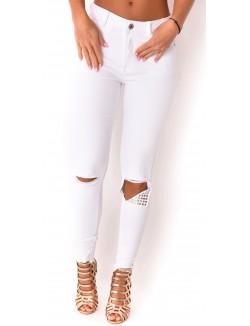Jeans slim déchiré à clous