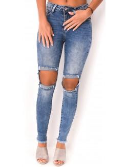 Jeans délavé déchiré à clous