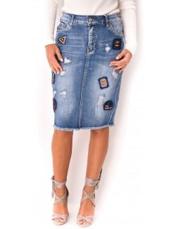 Jupe en jeans à patchs
