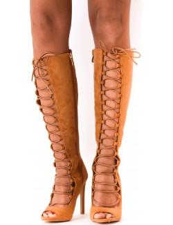Sandales à talons en suédine lacées