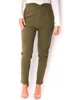 Pantalon taille haute croisé