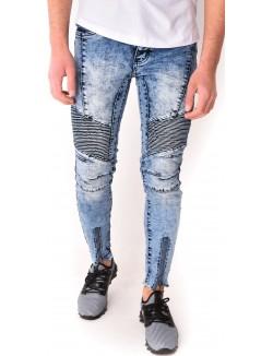 Jeans motard zippé