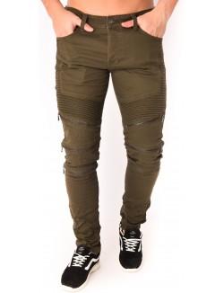 Jeans homme kaki à zips