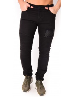 Jeans homme noir motard