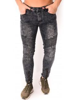 Jeans homme motard zippé