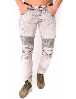Jeans homme motard gris destroy