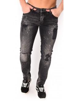 Jeans gris destroy à tâches