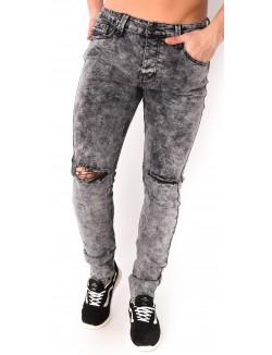Jeans homme gris délavé déchiré