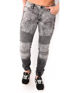 Jeans motard gris délavé