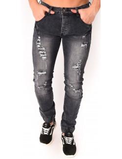 Jeans homme noir délavé destroy