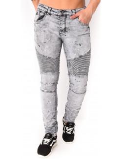 Jeans gris motard à tâches de peinture