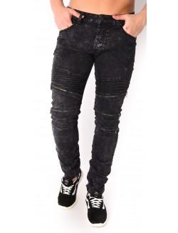 Jeans homme noir à zips