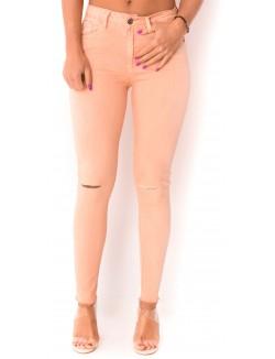 Jeans déchiré rose vieilli