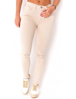 Jeans taille haute déchiré à clous