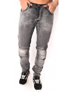 Jeans homme gris à zips