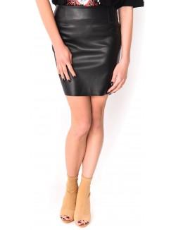 Jupe simili cuir droite avec fermeture zip
