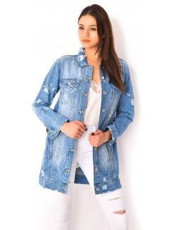 Veste en jeans destroy à taches