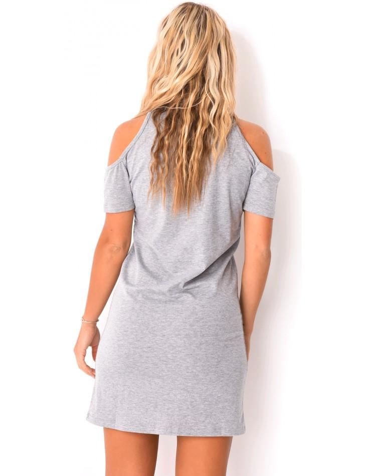 Robe imprimée lacée au col