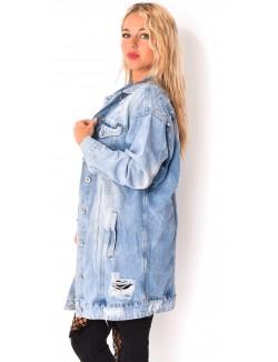 Veste en jeans oversize à clous