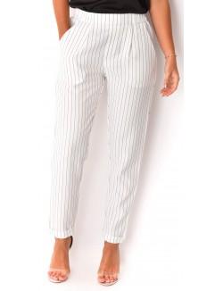 Pantalon tailleur rayé