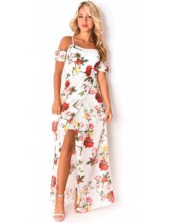 Robe longue en voile à fleurs