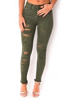 Jeans taille haute déchiré