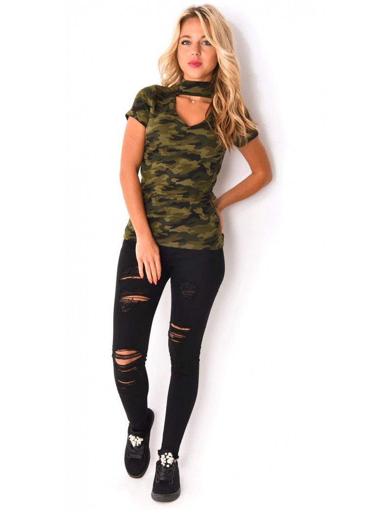 t shirt camo empi cement au col jeans industry. Black Bedroom Furniture Sets. Home Design Ideas