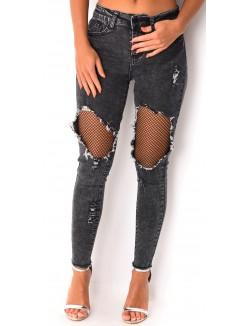 Jeans gris destroy à empiècements résille