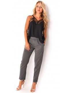 Pantalon tailleur à élastique