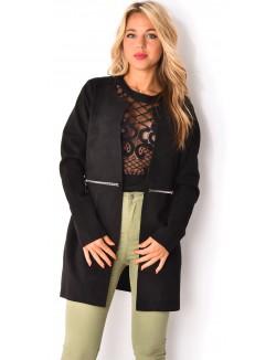 Manteau mi-long suédine avec fermeture